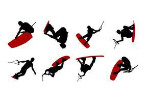 Vecteur de silhouettes de wakeboard gratuit