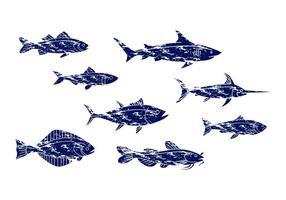 Vecteur d'icône de poisson vintage gratuit