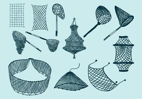 Icône du filet de pêche vecteur