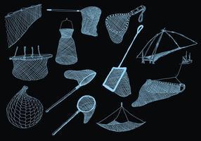 Icône de pêche sur fond noir vecteur