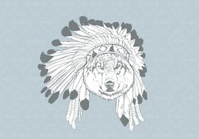 Loup dessiné à la main avec Bonnet vecteur