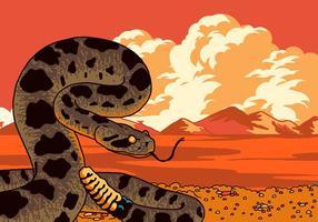Vecteur de serpent à sonnettes prêt à frapper