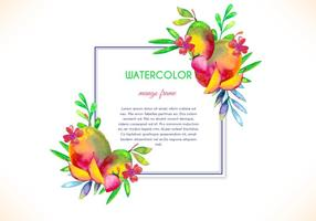 Cadre gratuit en mangue aquarelle vectorielle vecteur
