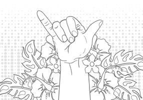 Shaka signe un geste avec une illustration de fleur vecteur