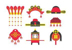 Vecteurs d'éléments de mariage chinois traditionnels