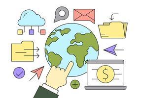 Icônes gratuites de l'entreprise mondiale vecteur