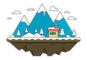 Blue Landscape Island Illustration Vectorisée vecteur