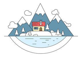 Illustration vectorielle de l'île Paysage enneigé vecteur