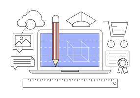 Icônes du bureau de conception vecteur