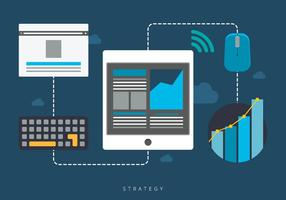 Combiner stratégie de marketing vecteur