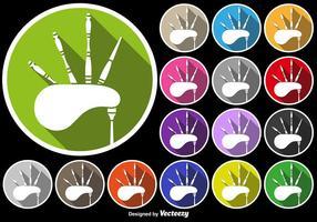 Icône de bagpipe set de boutons colorés vecteur
