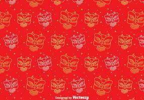 Motif sans couture de Red Lion Dance vecteur