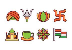 Ensemble d'icônes en Inde gratuit vecteur