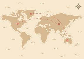 Vecteur de carte du monde de voyage gratuit