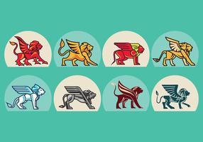 Vector d'insignes de lion ailé