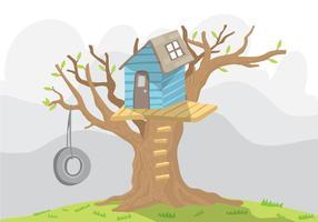 Vecteur arbre bleu avec balançoire