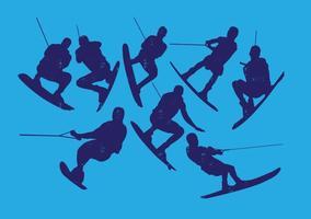 Collection Silhouette Ski nautique vecteur