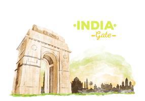 Vecteur libre d'aquarelle de la porte de l'Inde