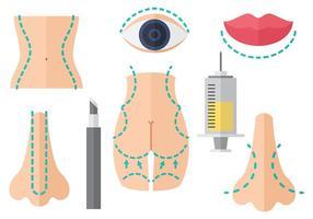 Vecteur gratuit d'icônes de chirurgie plastique