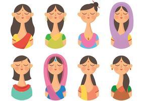 Vecteur d'icônes libres de la femme indienne