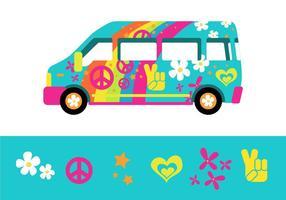 L'autobus Rainbow Psychedelique de la ville de Hippy vecteur