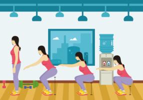 Femme fitness faisant squats vecteur