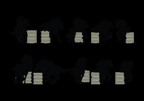 Vecteur de silhouette de course de baril