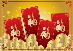 Coins and Red Chineese New Year Money Packet Design vecteur