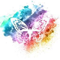 conception abstraite de papillon sur la texture aquarelle