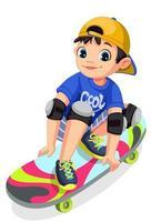 cool boy sur skateboard faisant des cascades