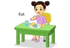 jolie petite fille mangeant joyeusement de la nourriture vecteur