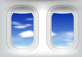 Fenêtre d'avion avec ciel bleu vecteur