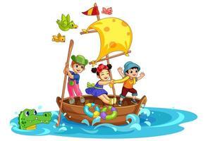 trois enfants s'amusant sur le bateau