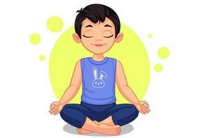 mignon petit garçon en pose de yoga vecteur