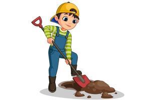 mignon, petit garçon, creuser, trou, dessin animé