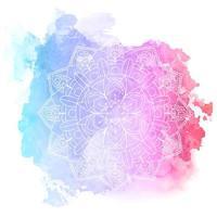 conception de mandala décoratif sur texture aquarelle vecteur