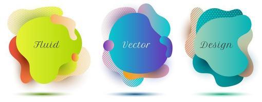 ensemble de badges de forme de couleur dégradé fluide abstrait