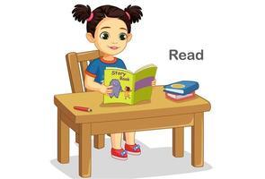 jolie petite fille lisant un livre d'histoire