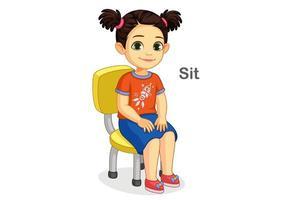 jolie fille assise sur la chaise