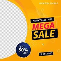 bannière de médias sociaux promotionnelle de méga vente