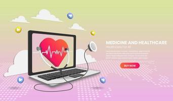 consultation médicale en ligne avec ordinateur portable et application médicale