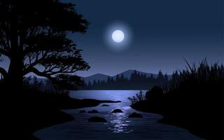 scène de nuit avec lune sur paysage de rivière vecteur