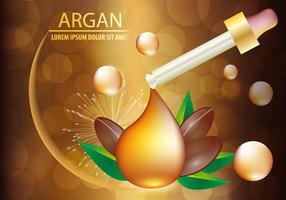 Sérum d'huile d'argan et concept d'arrière-plan Soins de la peau Cosmétique vecteur