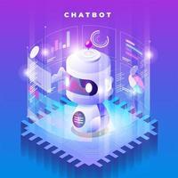 illustration isométrique de la technologie chatbot