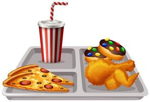 plateau avec nourriture et boisson vecteur