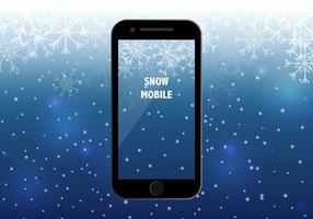 Téléphone intelligent avec fond de saison de neige vecteur