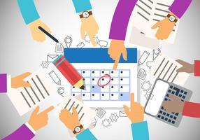 Travail en équipe Mains avec délai Temps au bureau vecteur