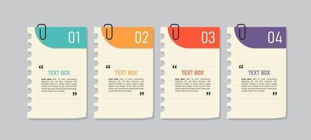 jeu d'icônes de notes de papier coloré