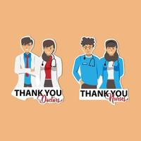 merci conception d & # 39; autocollants médecins et infirmières