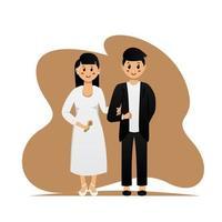 conception de couple marié mignon vecteur